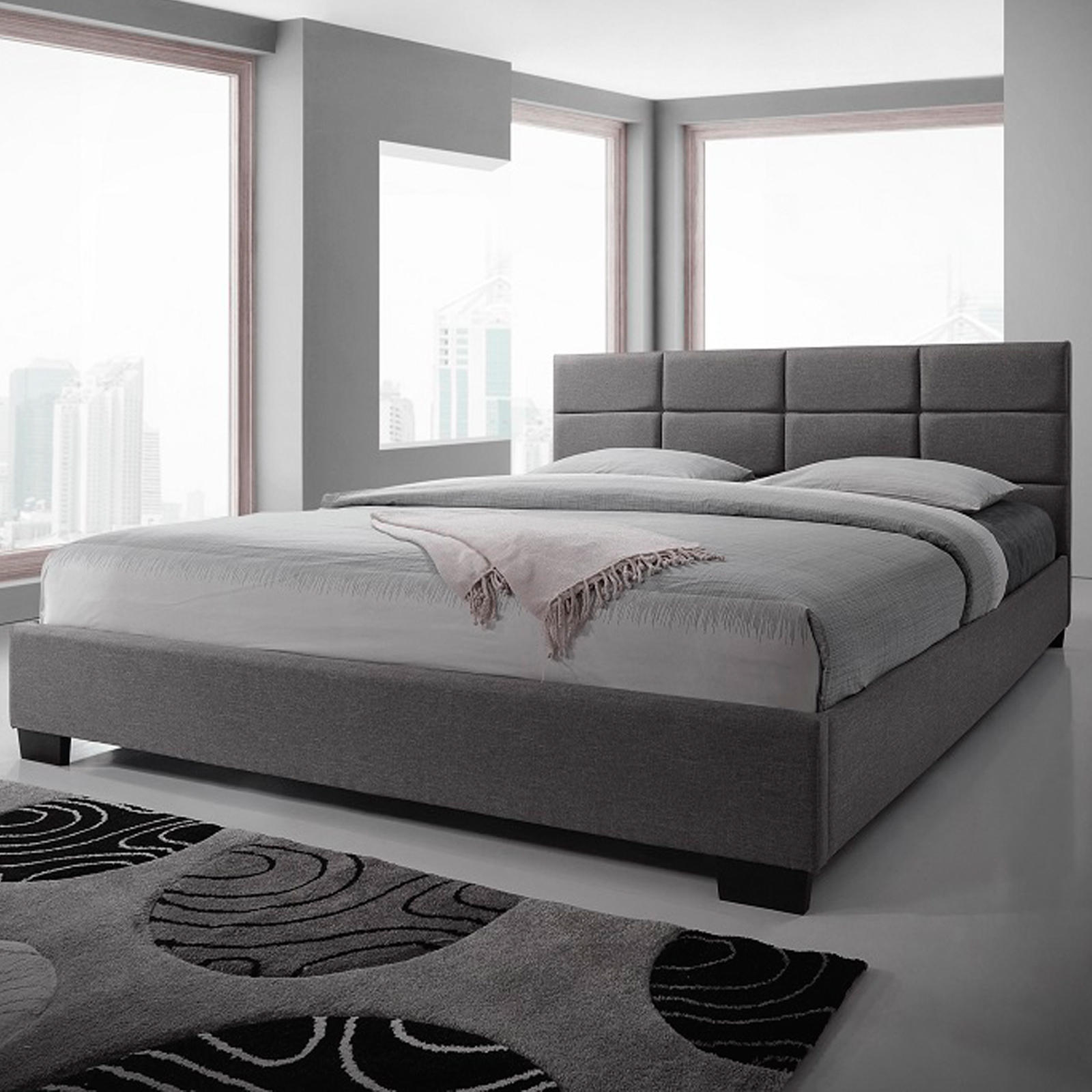 New king size fabric bed frame light grey for Mobilia king size bed