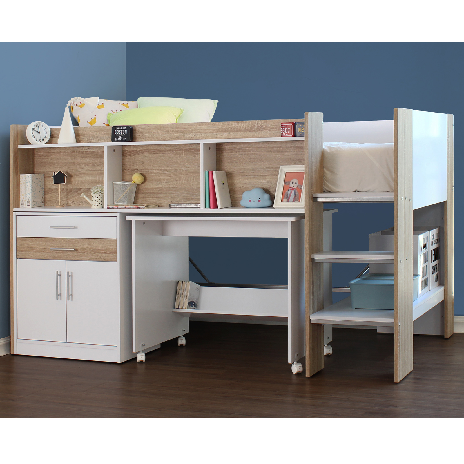 Single Midi Sleeper Bed With Desk Cabinet And Bookshelves