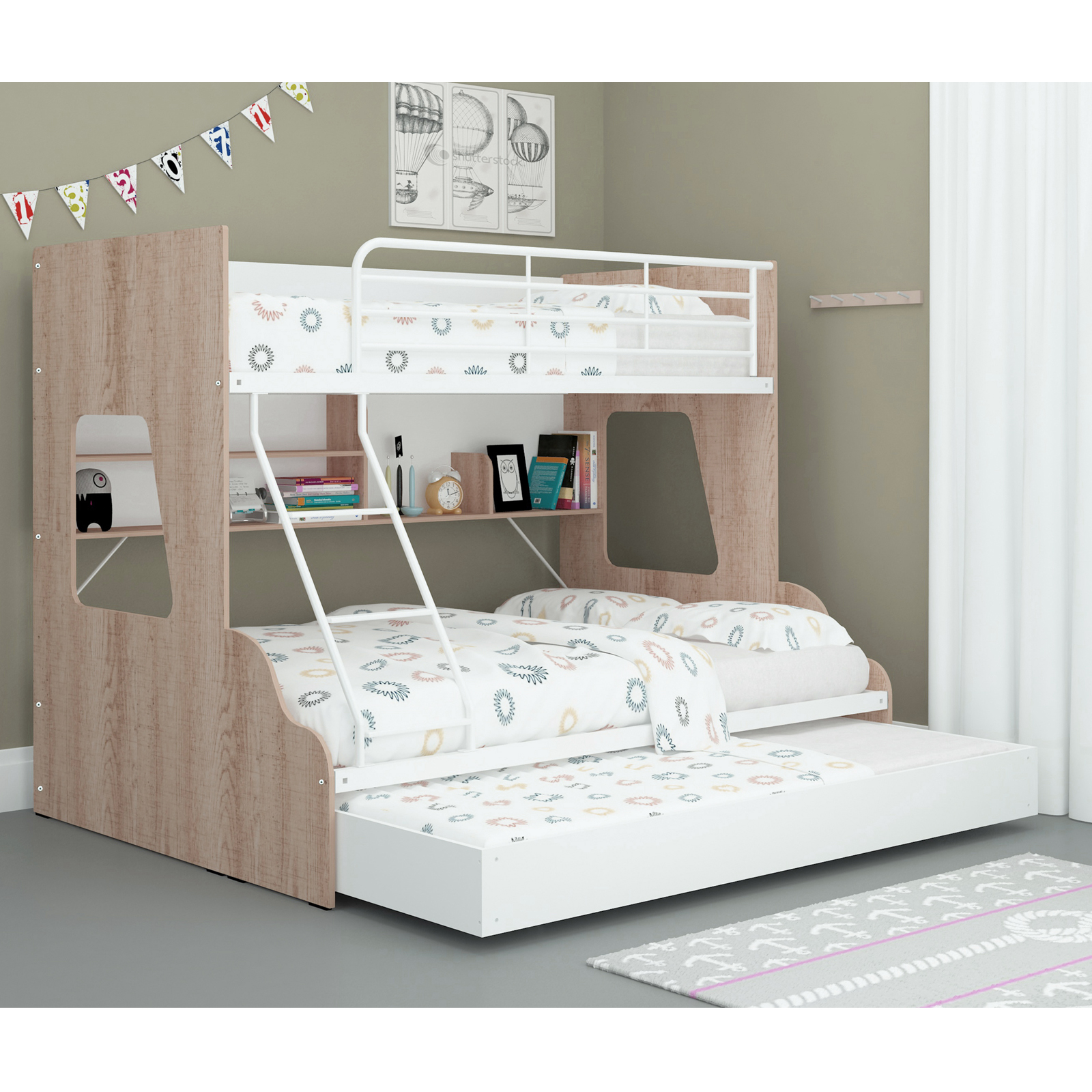 Single Over Double Trio Bunk Bed With Bookshelves And