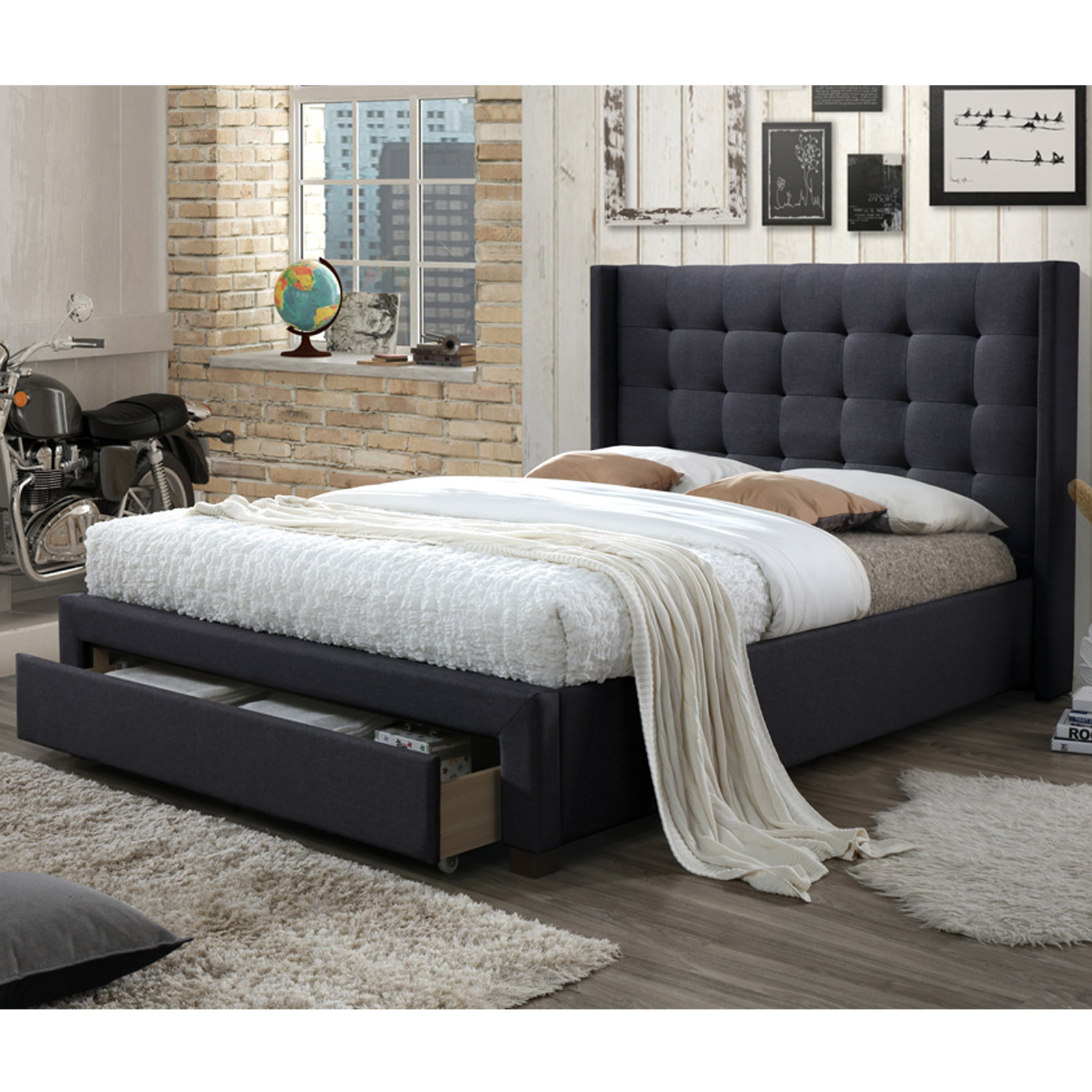 Luxury Queen Size Fabric Bed With Buttons & Studs