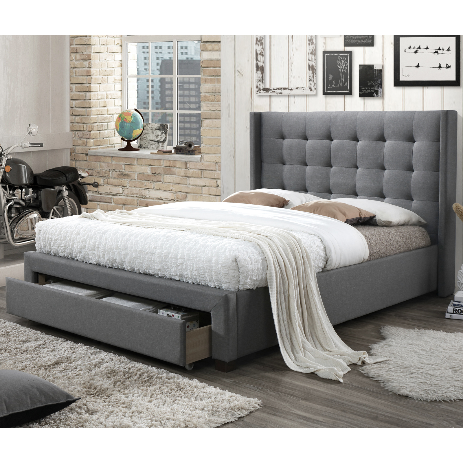 Rocky Queen Bed With 1 Drawer [Light Grey]