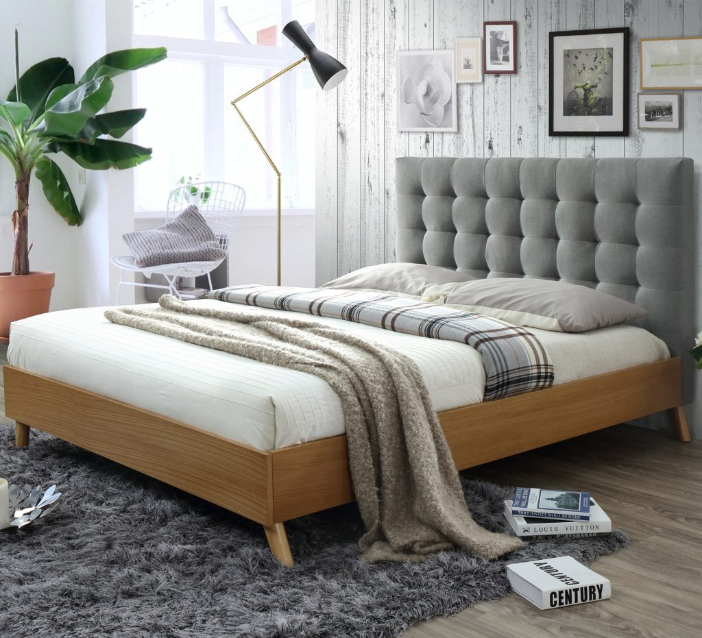 Luxury Queen Size Fabric Bed With Buttons Amp Studs Light Grey