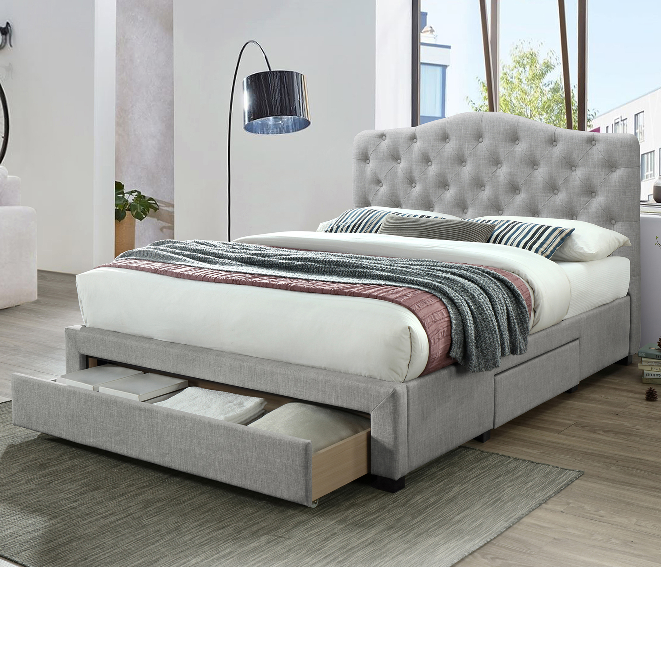 Modern Stylish Queen Size Fabric Bed Frame With 3 Drawers Silver Yes Furniture Online