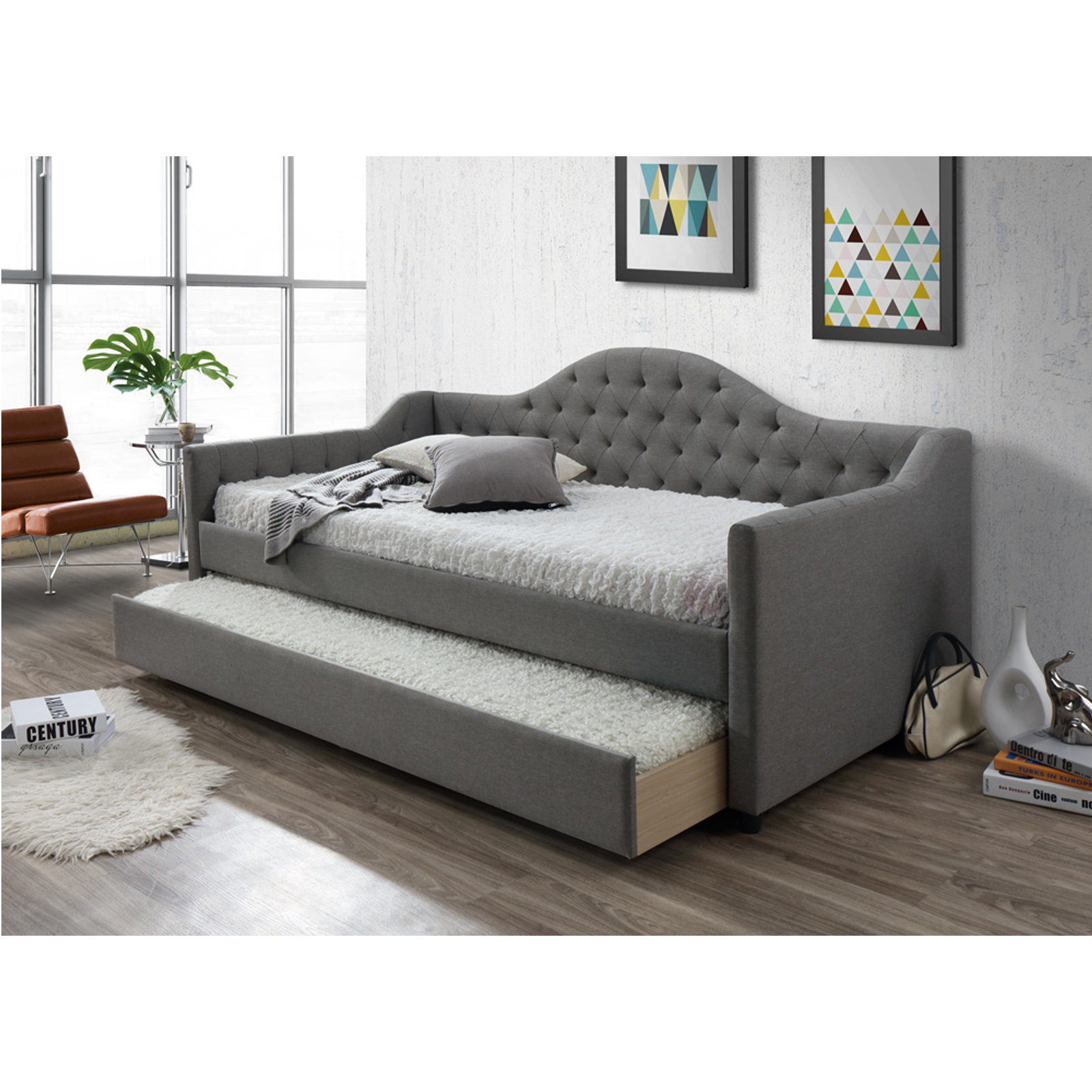 Modern Single Sofa Bed with Trundle [Grey]