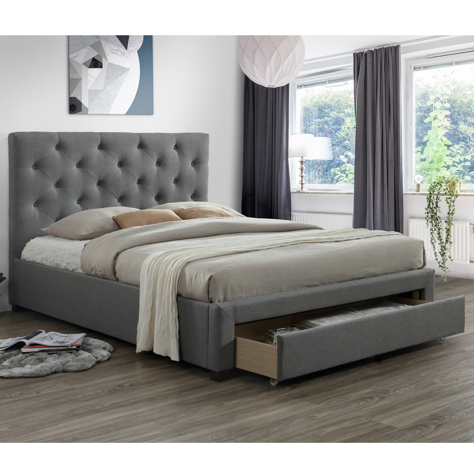 Modern Queen Bed with 10 Drawer [Light Grey]